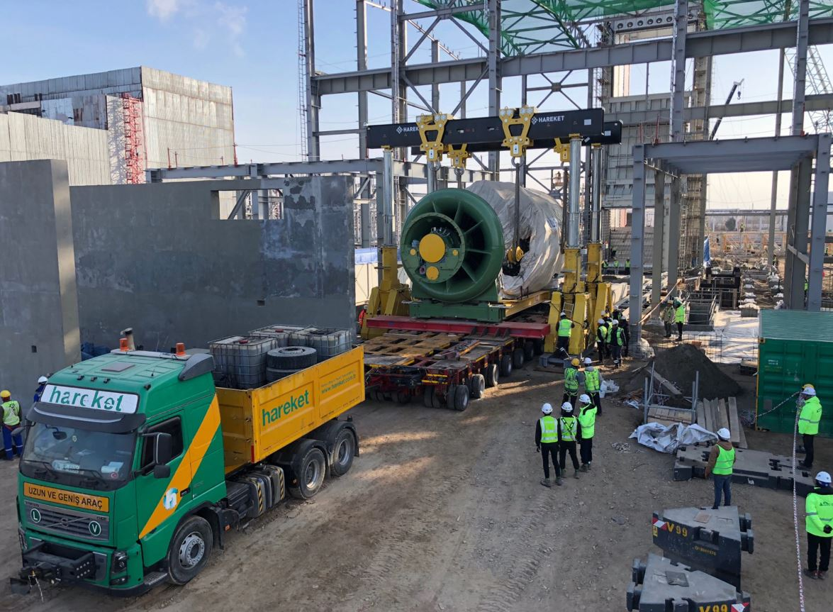 moving a turbine generation unit with a hydraulic gantry