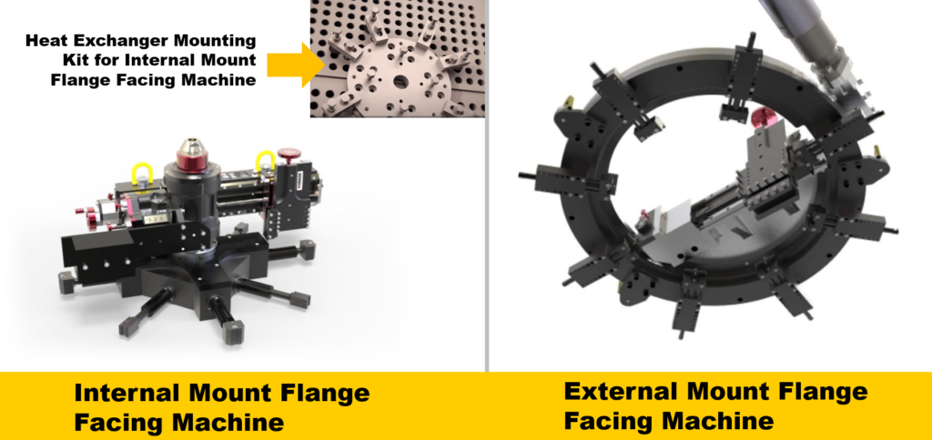 internal and external mount flange facing machines compared