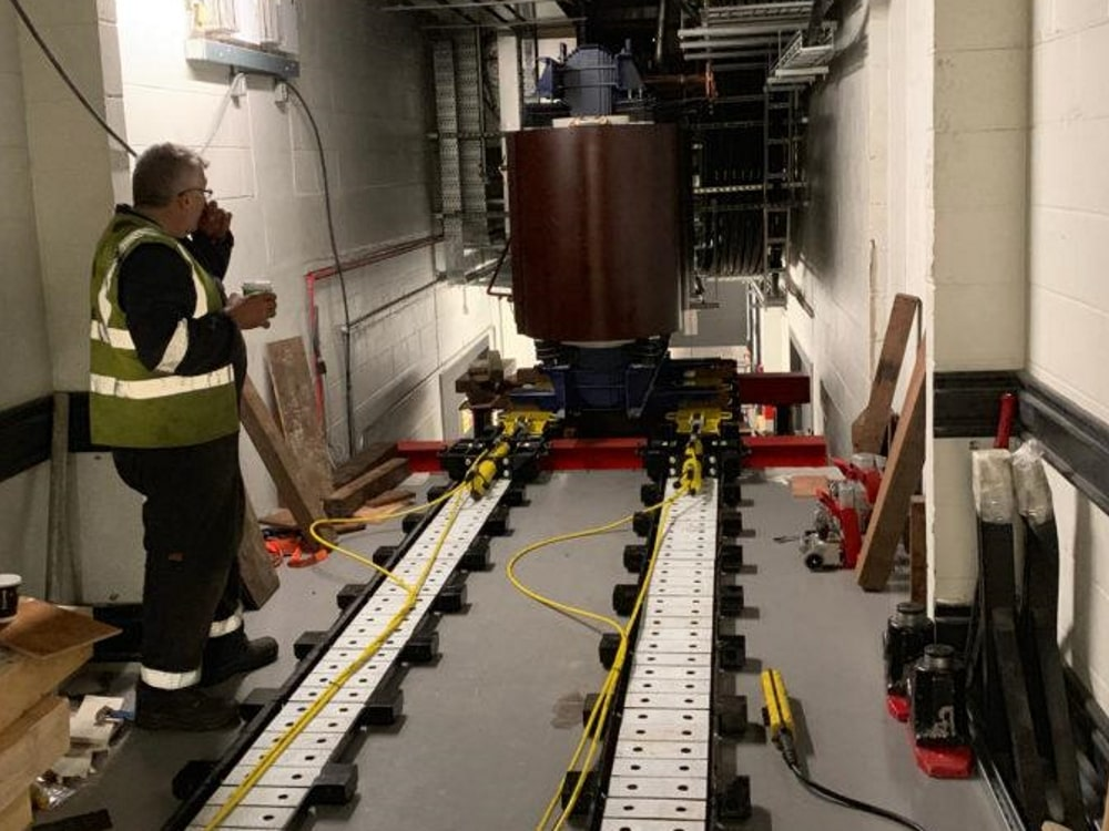 hydraulic skidding system moving a transformer