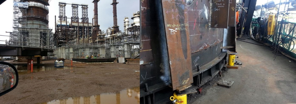 lifting a coker at oil refinery