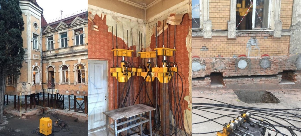 building foundation repair with synchronized cylinder lift