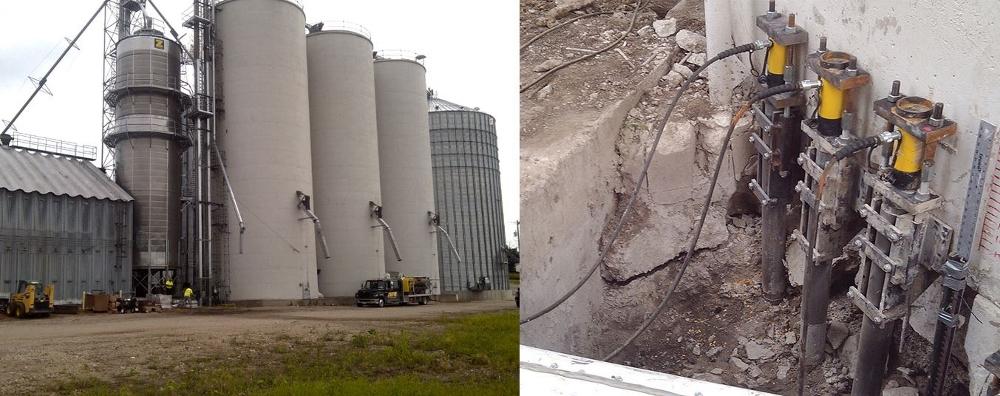 silo foundation repair using hydraulic cylinders