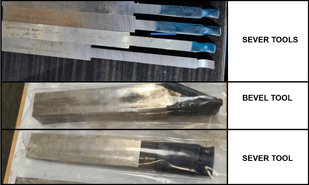 sever and bevel high speed steel tools for a clamshell pipe cutting and beveling machine