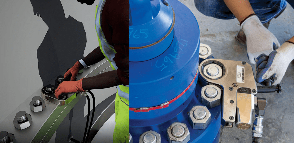 tools for wind turbine bolt tightening - torque wrenches
