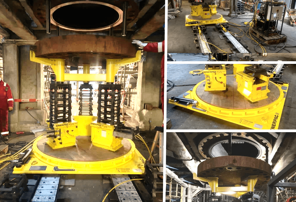 Enerpac Cube Jack and other equipment lifting a heavy vessel lid