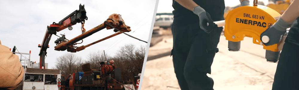 lifting rail stressor into position