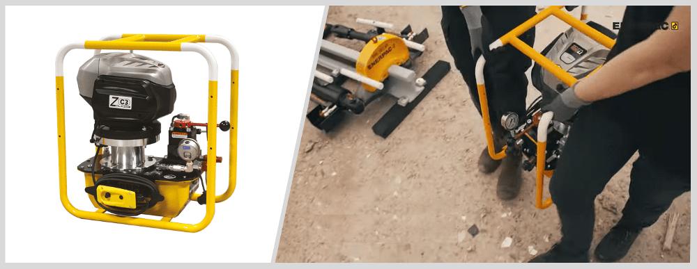 hydraulic pump for rail stressor or rail puller