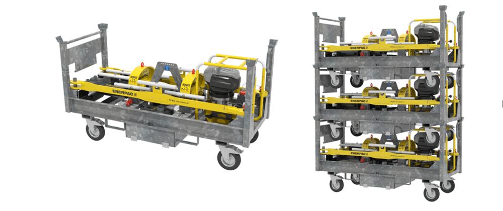 storage trolley for a rail stressor