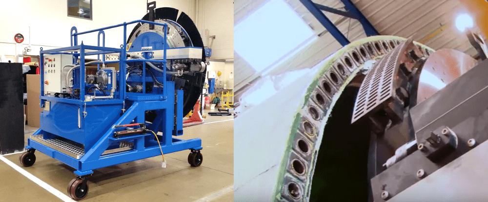 wind turbine trolley for an orbital milling machine