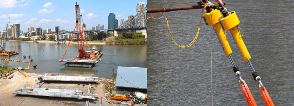 how the brisbane riverwalk was built using a synch hoist